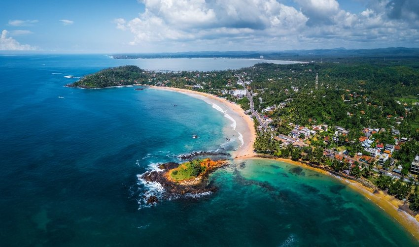 Aerial view of the coast of Mirissa, Sri Lanka
