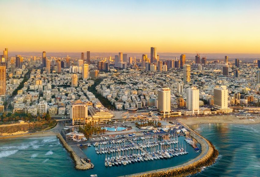 Aerial sun set view of Mediterranean Seashore of Tel Aviv, Israel