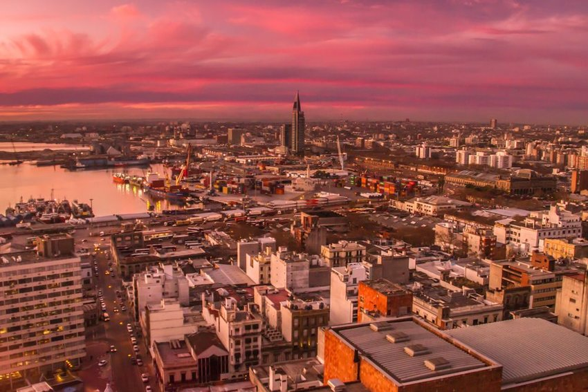 View of Montevideo, Uruguary from above with pink sunset