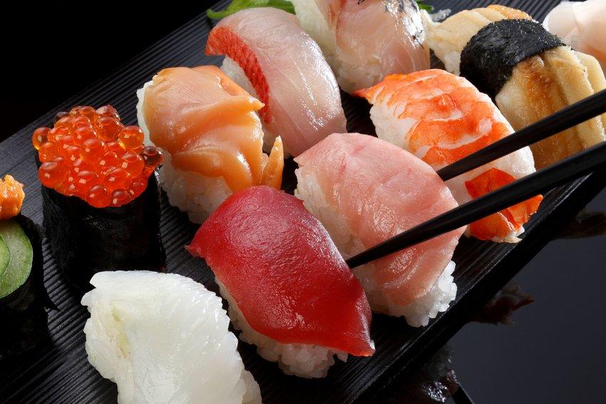 tray of Japanese sushi