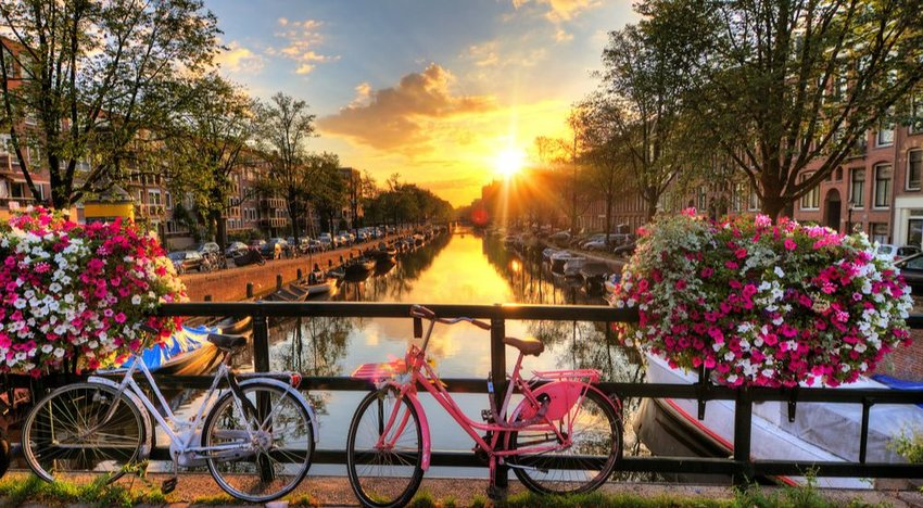 Bicycles on a bridge in Amsterdam