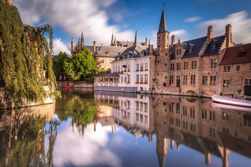 The medieval city of Bruges overlooking a canal