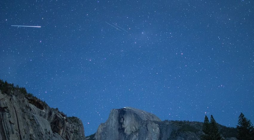 Eta Aquarids meteor showers across the night sky