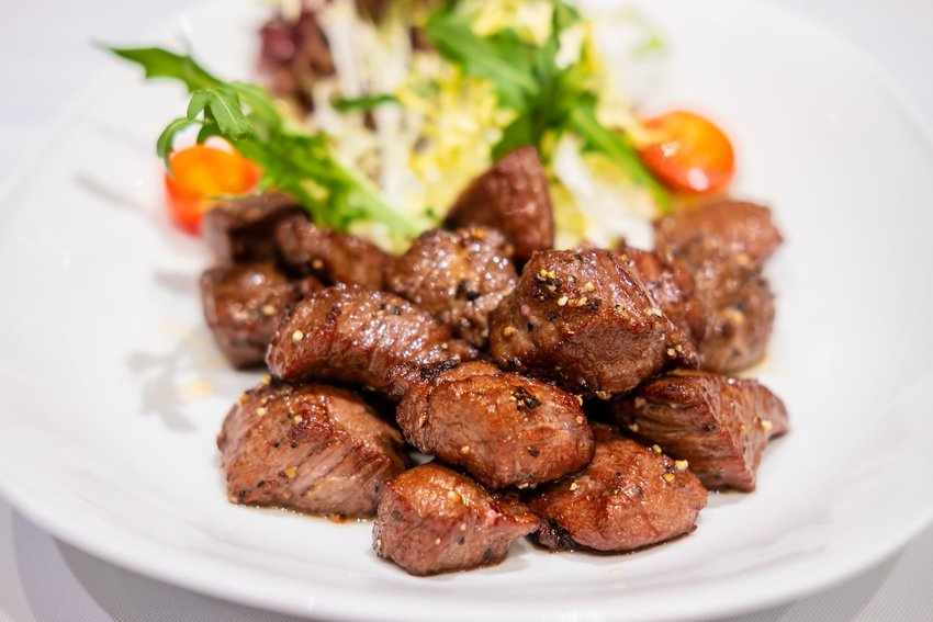 A plate of fried beef chislic