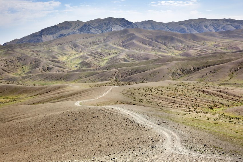 A road in the middle of the Gobi Desert in Mongolia