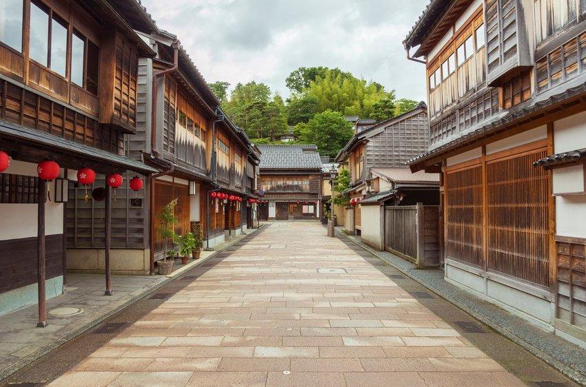 A historic street in Kanazawa, Japan