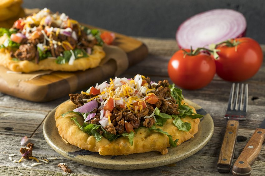 Indian Fry Bread Tacos with Ground Beef Lettuce and Tomato