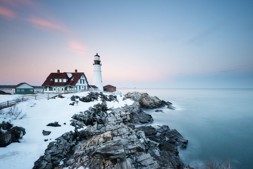Portland Maine lighthouse in winter