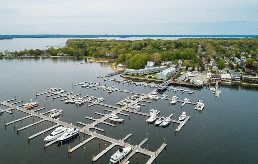 Aerial view of Port Washington on Long Island