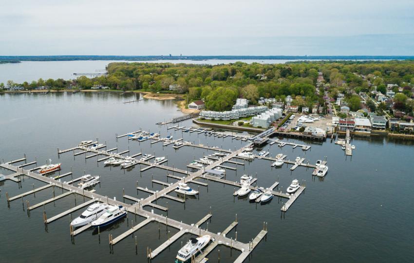 Aerial view of Port Washington on Long Island