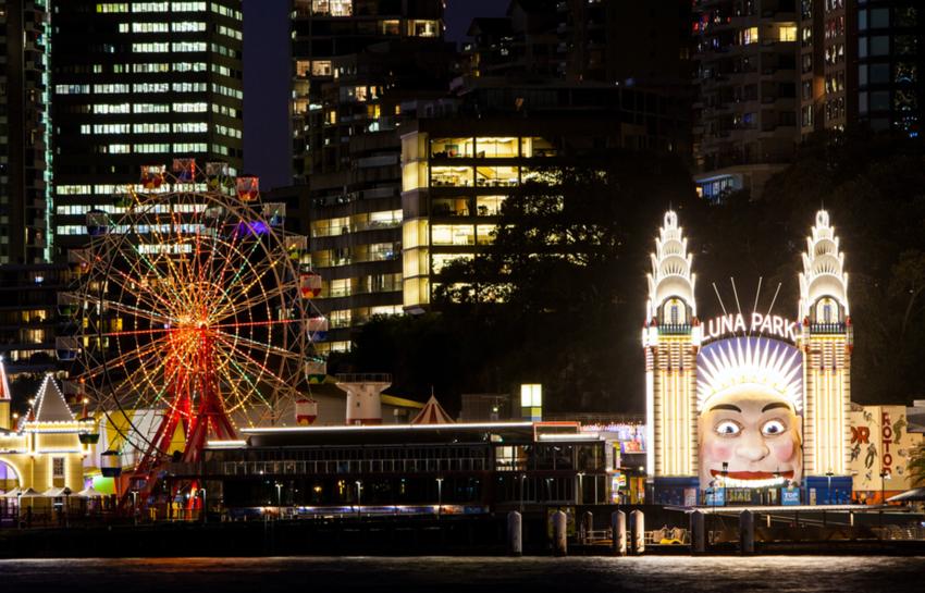 Luna Park all lit up at night
