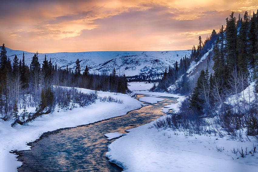 Alaska river and mountains in winter