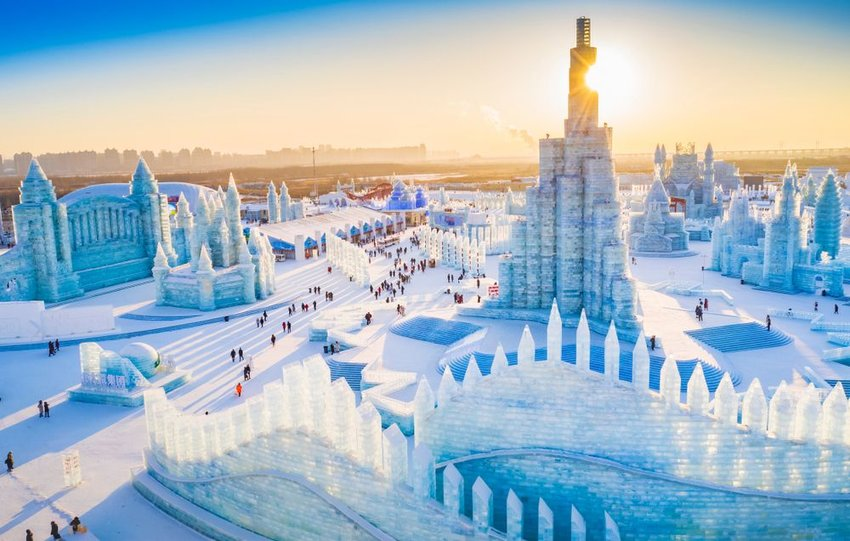Huge ice sculptures at China Harbin Ice and Snow World