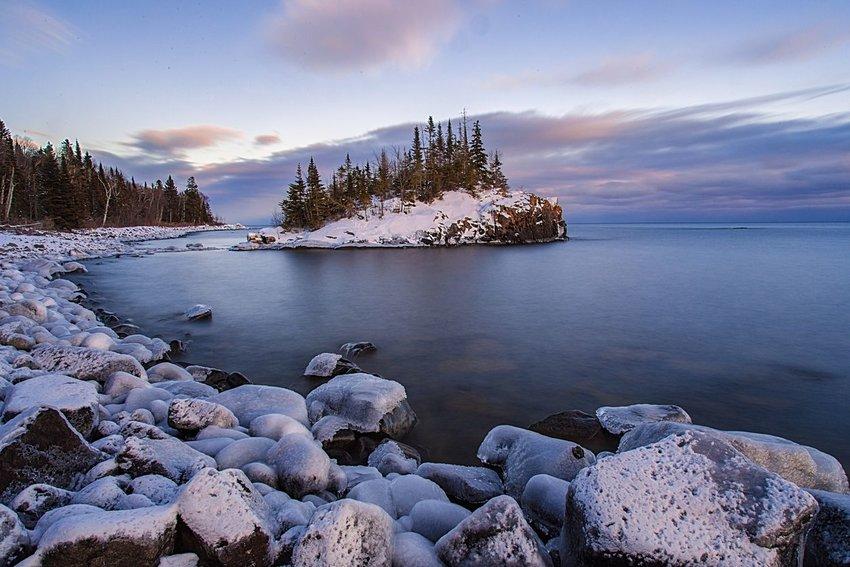 Horseshoe bay island in snow