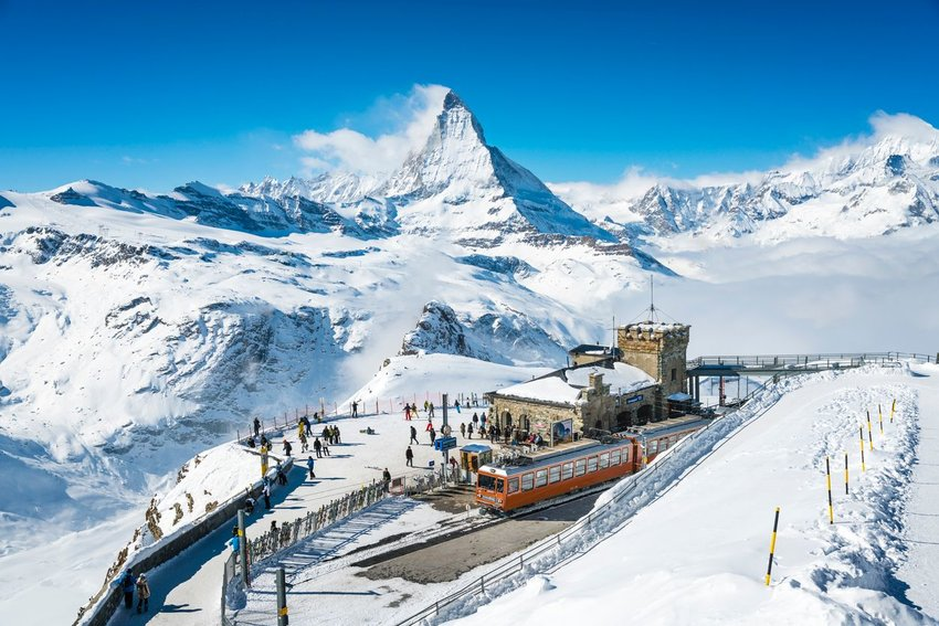 People at Gornergrat railway station in Switzerland