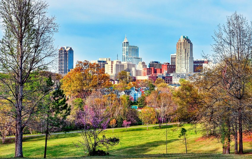 View of Raleigh from park with colorful fall trees