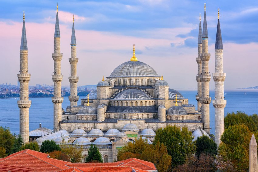 Aerial view of the minarets and domes of the Blue Mosque in Istanbul