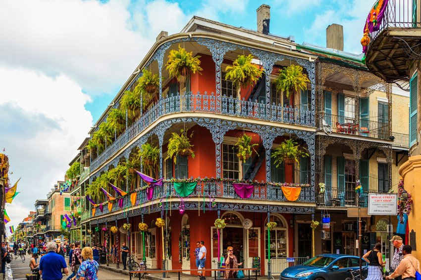 Three-story building in the French Quarter of New Orleans