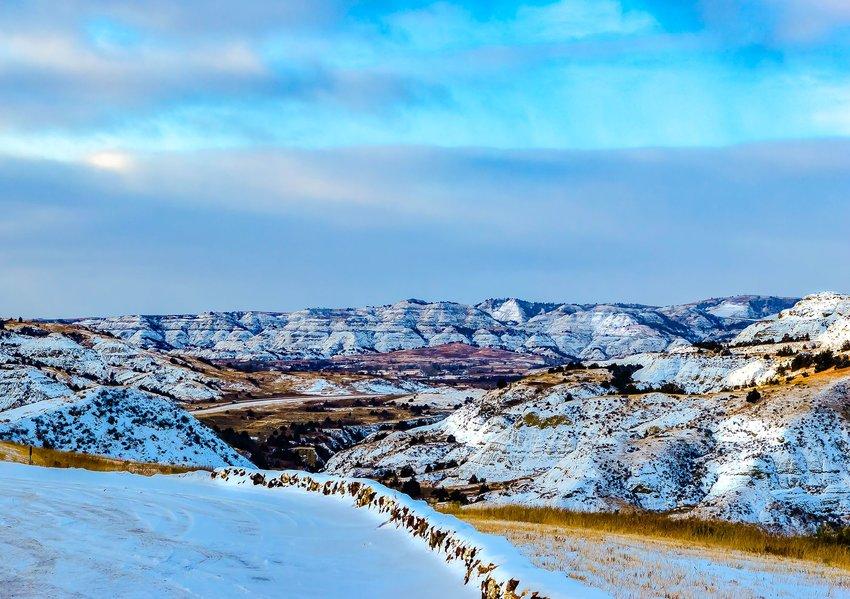 North Dakota badlands in winter