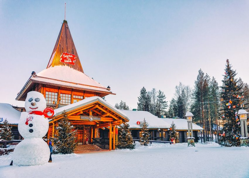 Santa's Office in village of Rovaniemi, Lapland, with giant snowman