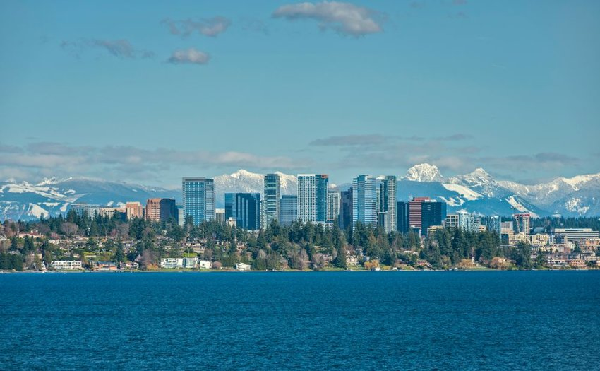 Skyline of Bellevue, Washington with mountains in the background