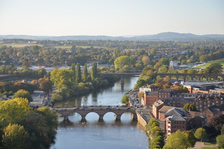 View from above Worcester, England