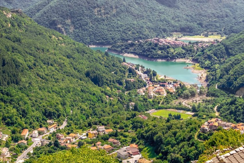 Aerial view of Garfagnana, Italy and Lake Vagli