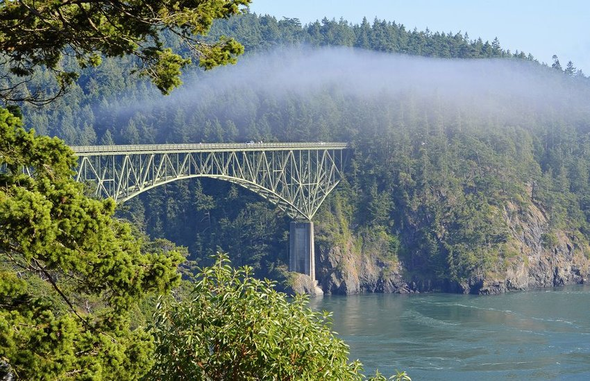 Deception Pass Bridge with Fog Rolling In, Whidbey Island, Washington