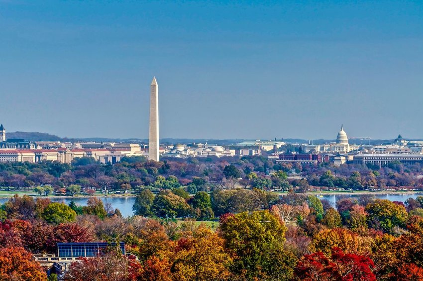Aerial view of the Washington, D.C. in fall