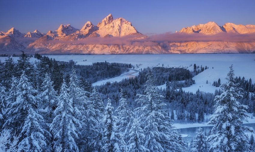 Aerial view of Wyoming covered in snow