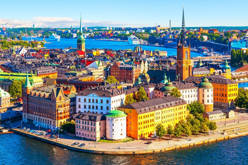 Aerial view of the colorful Old Town architecture in Stockholm