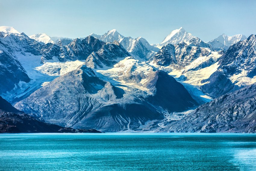 The landscape of Glacier Bay in Alaska viewed from the water