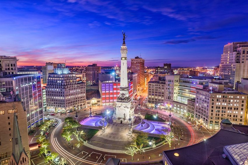 Indianapolis, Indiana, USA skyline over Monument Circle