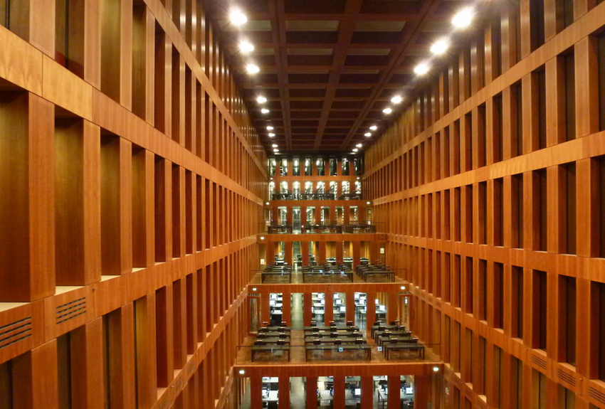 Interior of the Grimm Zentrum Library at night
