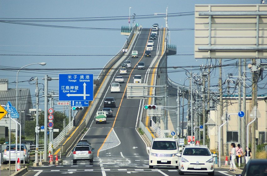 Eshima Ohashi bridge with traffic