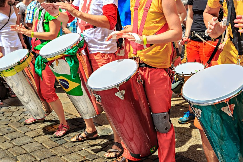 A group of samba musicians in a Carnival festival in Brazil