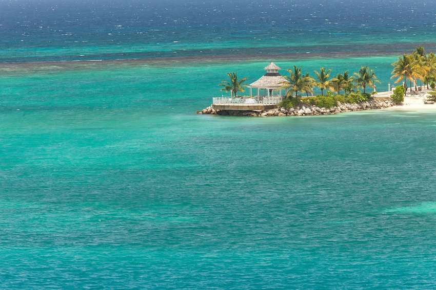 Gazebo over the water on Jamaica's coastline