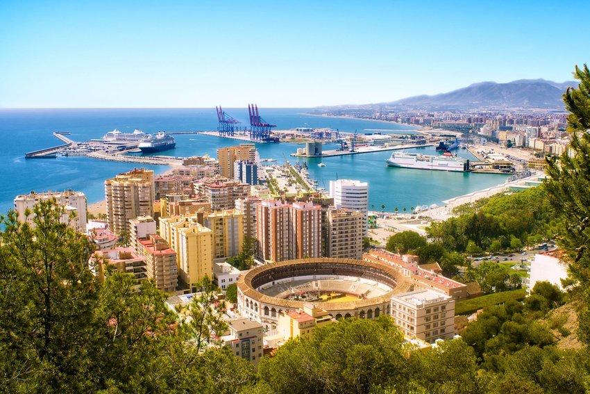 Bullring and harbor in Málaga, Spain