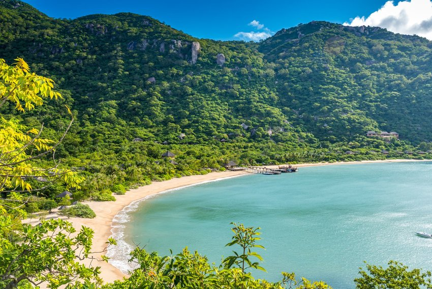 The beach along the coast of Ninh Van Bay in Vietnam