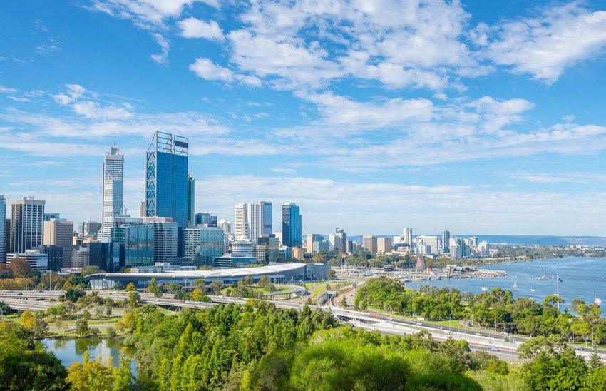 Perth skyline with a bright blue sky