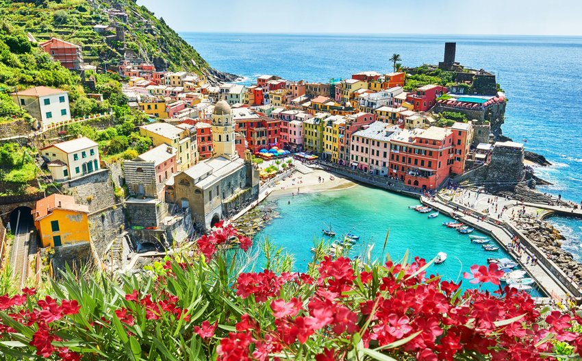 Colorful buildings, sea, and flowers in Cinque Terre