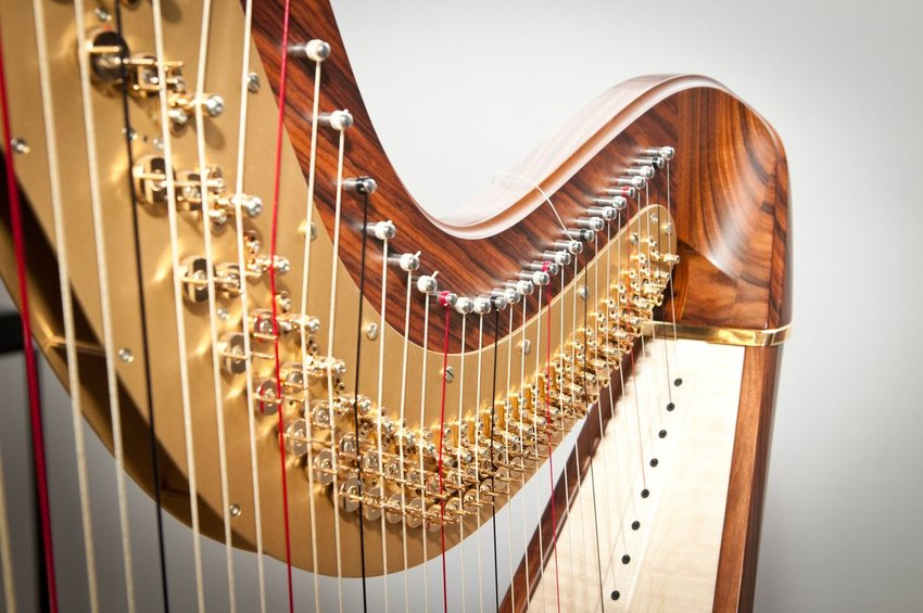 Close up of a harp instrument