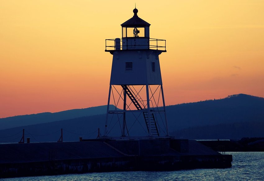 Grand Marais Lighthouse in Minnesota at sunset