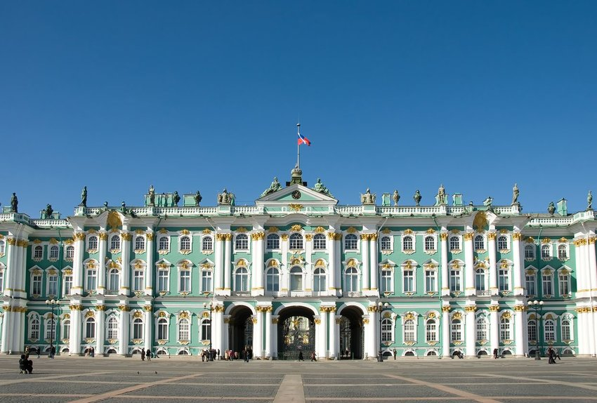 Winter Palace in St. Petersburg, Russia, photographed midday