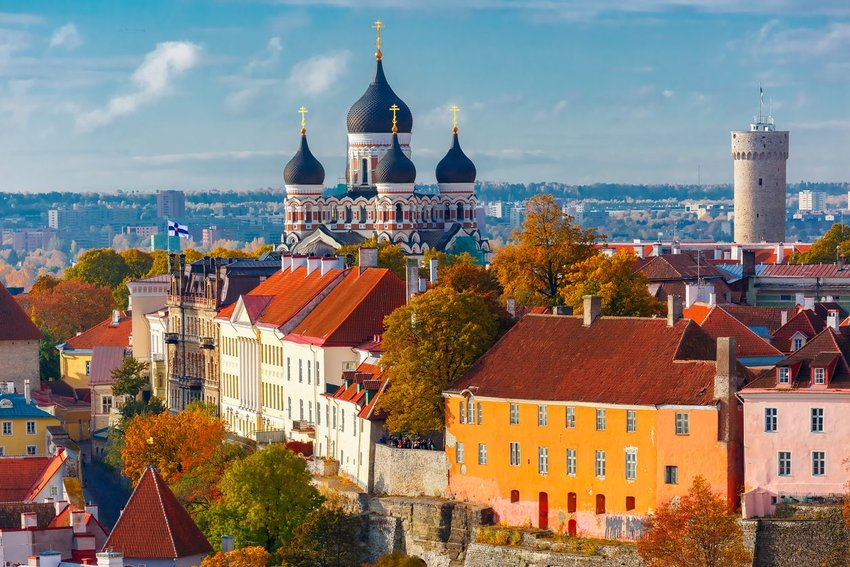 Toompea hill with tower Pikk Hermann and Russian Orthodox Alexander Nevsky Cathedral