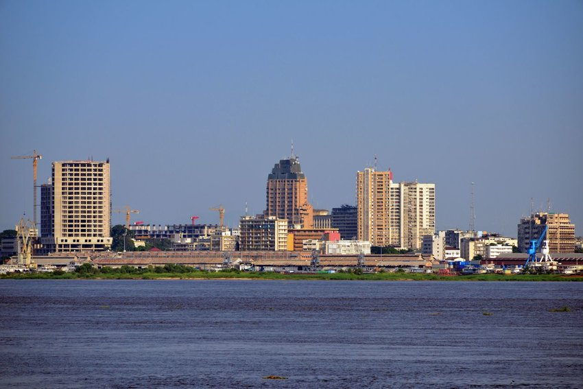 View of skyscrapers over the Congo river