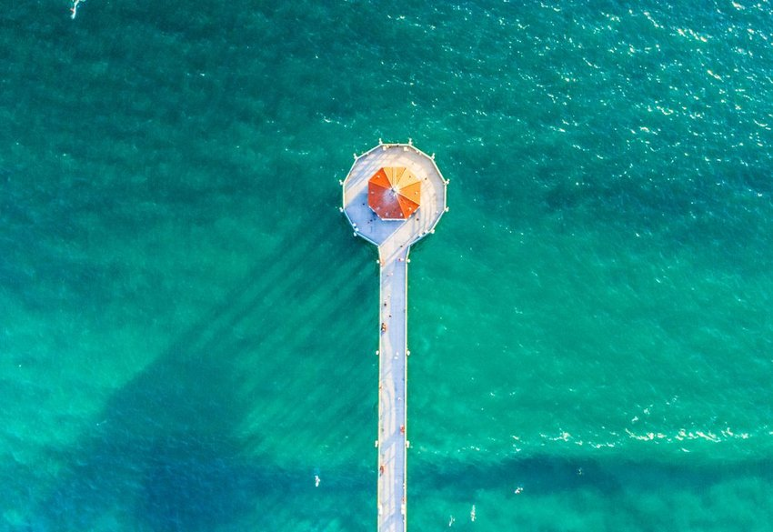 Aerial view of the Manhattan Beach Pier