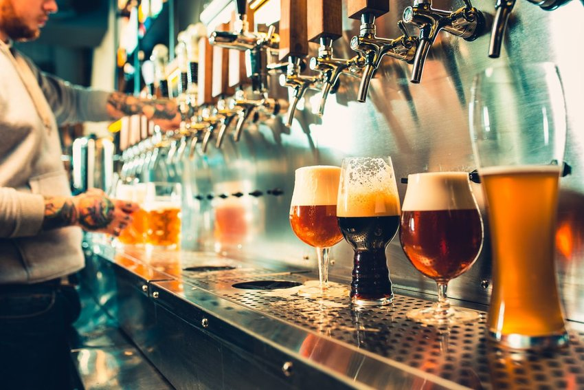 A bartender pours out multiple types of beer at a craft brewery.