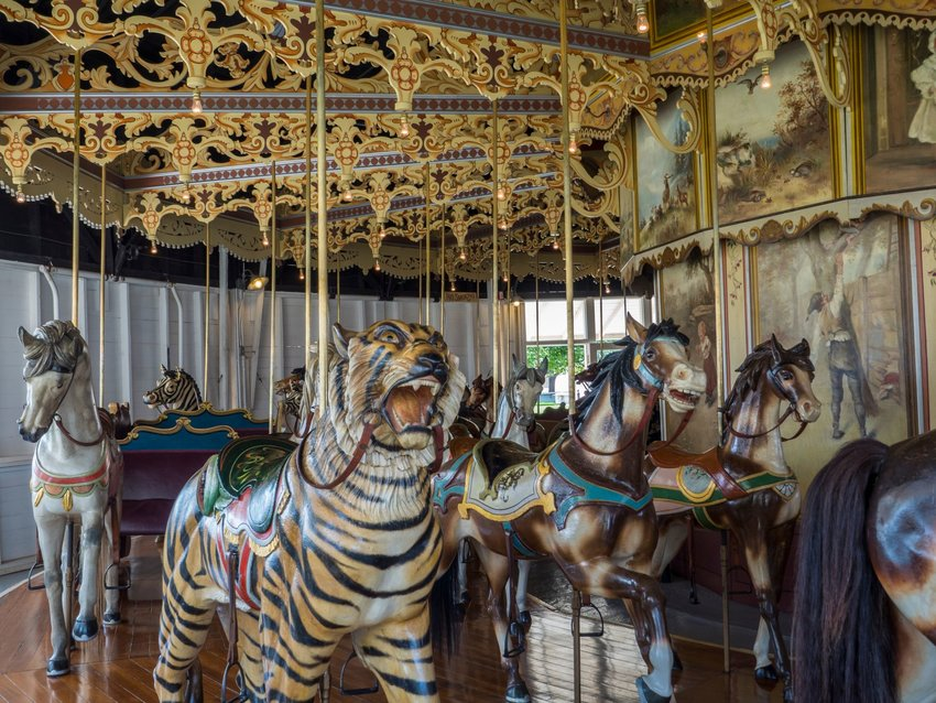 A tiger and several horses on the antique Kit Carson Carousel