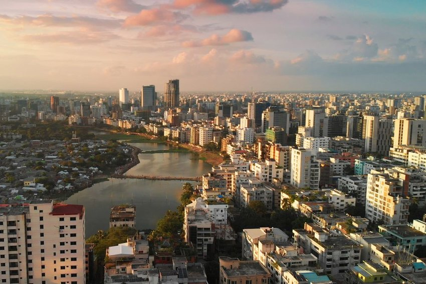 Skyline view of Dhaka at sunset